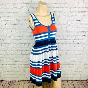 FRENCH CONNECTION Red & Blue Striped Sun Dress 4
